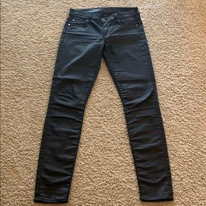 7 for all mankind skinny black coated jeans